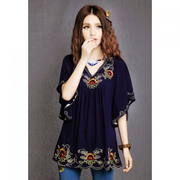 Embroidered Batwing Sleeve Dress