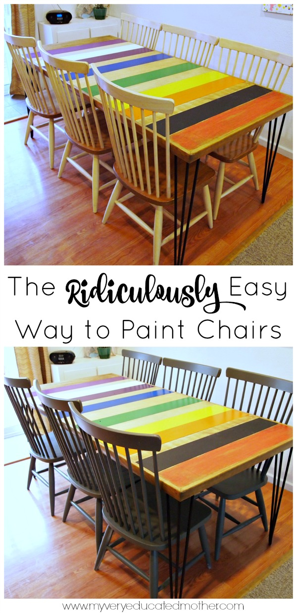 The absolute easiest way to paint chairs is to use a paint sprayer! Love this table!