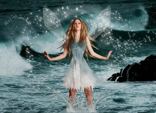 Angel-like girl standing in water scenic serene backgroun