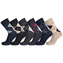 Royal Spencer Socken mit Karo-Muster im 6er-Pack, Socken für Damen & Herren, Socken für jede Jahreszeit, Baumwollsocken (Gr. 39 - 46)