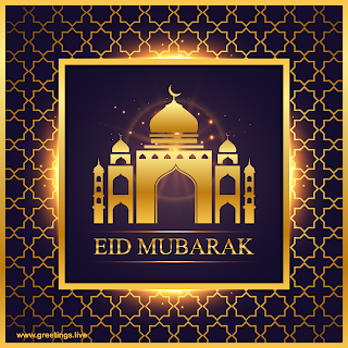 Ramadan Festival images with Eid mubarak Golden Sparkling Light Background