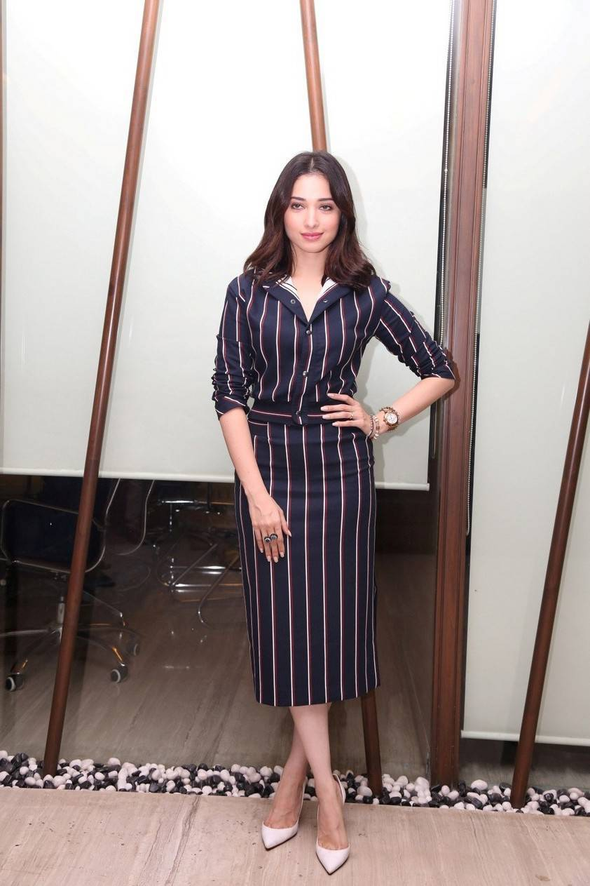 South Indian Actress Tamanna Images In Blue Dress At Movie Interview