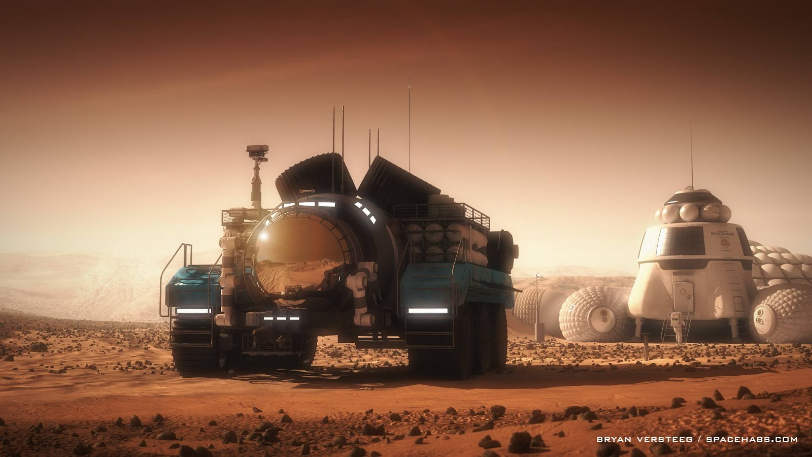 human Mars: Mars exploration rover leaving the base by ...