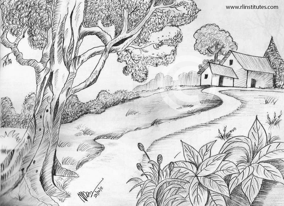 Pencil drawing inimai ponnusamy ganesan village