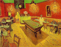 "People in a café of Van Gogh's stylistic painting ""Le café de nuit"""