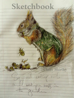 garden squirrel eating nuts graphite