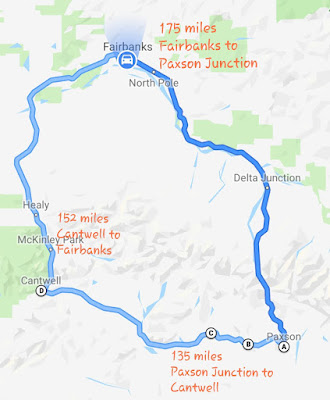The map of two route going back to Fairbanks