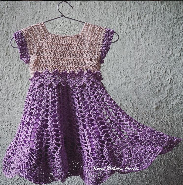 Sweet Nothings Crochet LAVENDER PINEAPPLE BABY DRESS