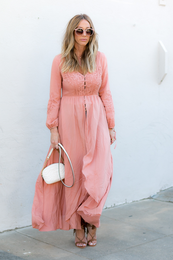 orange flowy maxi dress