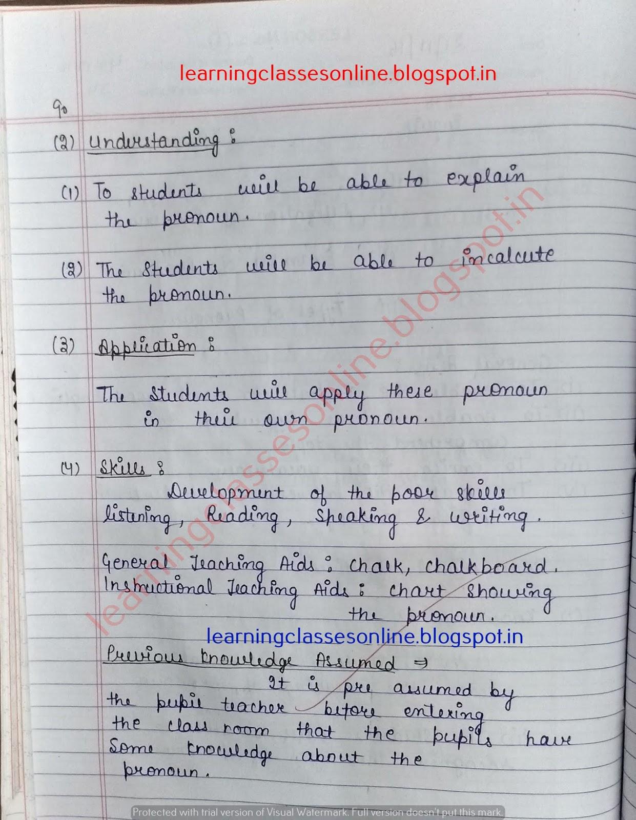 lesson plan for english grammar,