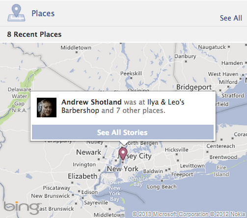 how does facebook check-in works with Bing maps API with