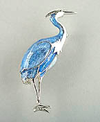 rhodium blue heron pin brooch relief jewelry
