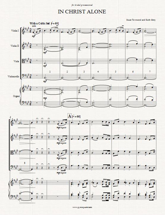 In Christ Alone - arr. for string quartet and organ