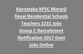 Karnataka KPSC Morarji Desai Residential Schools Teachers Jobs Group C Recruitment Notification 2017 Govt Jobs Online