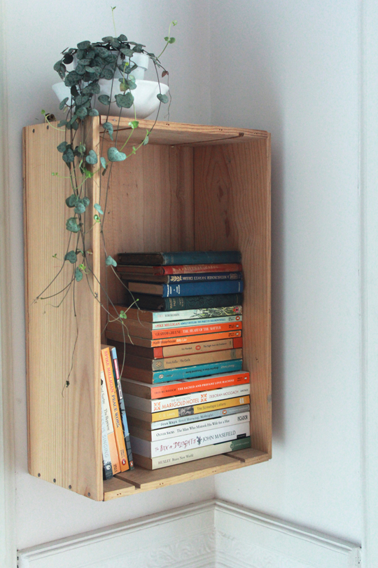 wine box bookcase diy