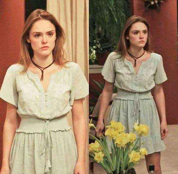 Figurino A lei do amor, Helô (Isabelle Drummond) primeira fase vestido