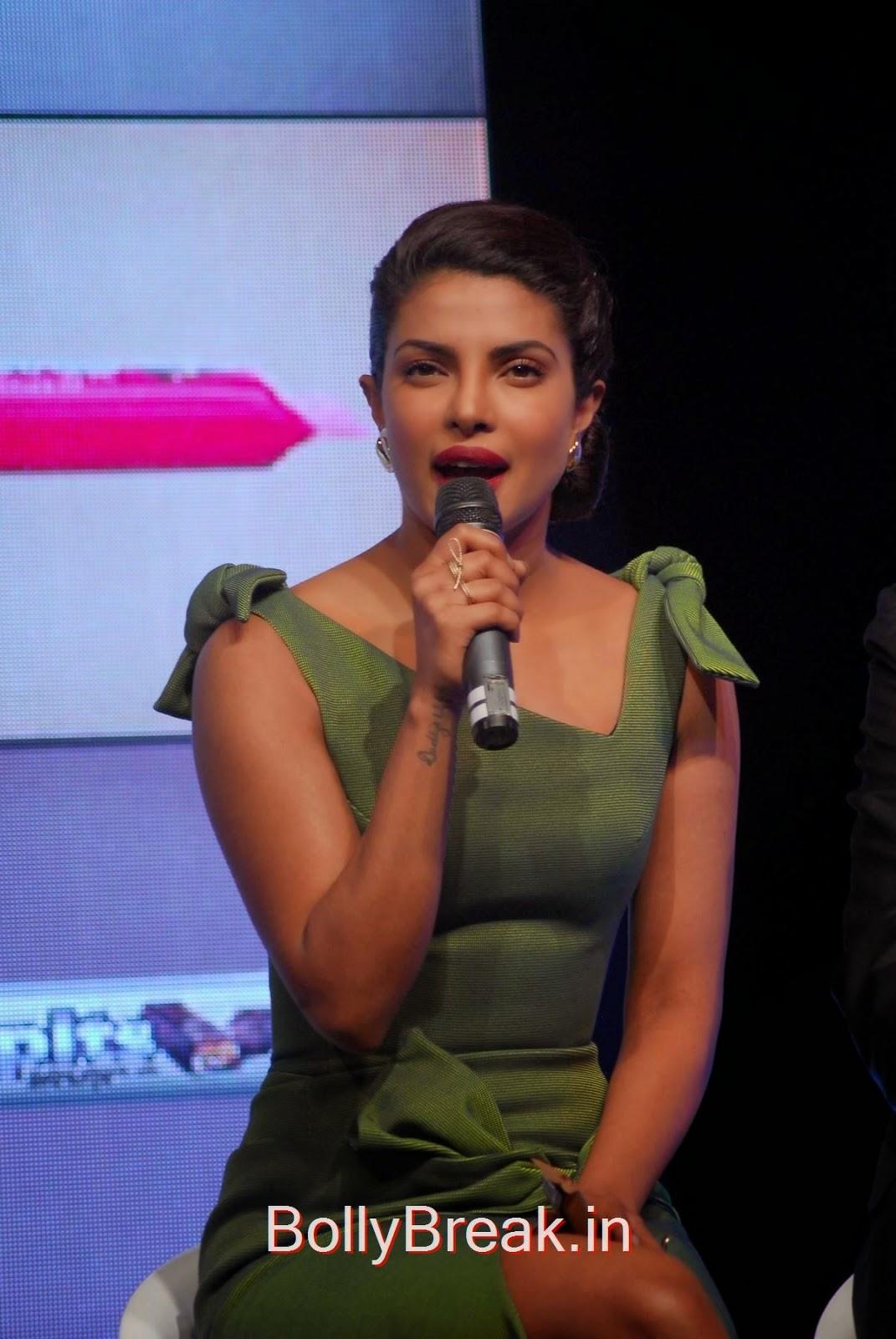 Hindi Actress Priyanka Chopra, Priyanka Chopra Hot Pics in green dress from Hoppit Chocolate Launch