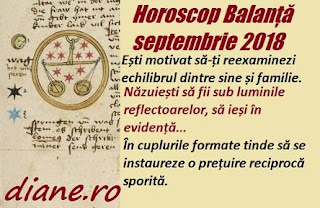 Horoscop Balanță septembrie 2018