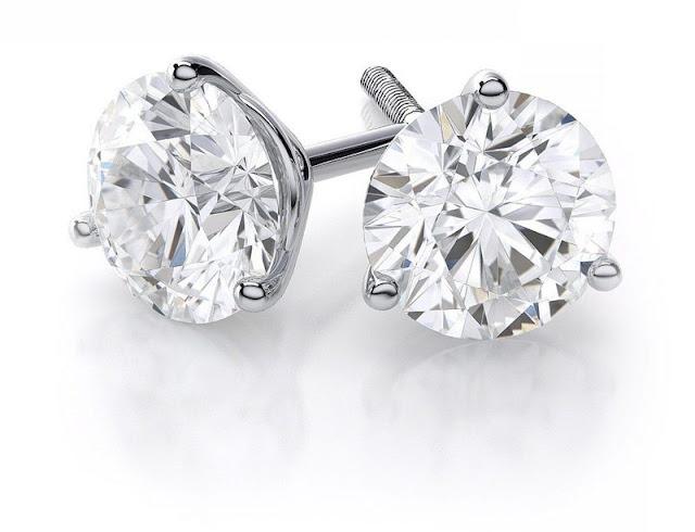 Martini-Style Diamond Stud Earrings