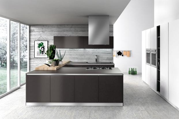 Cuisine design avec mur en bois