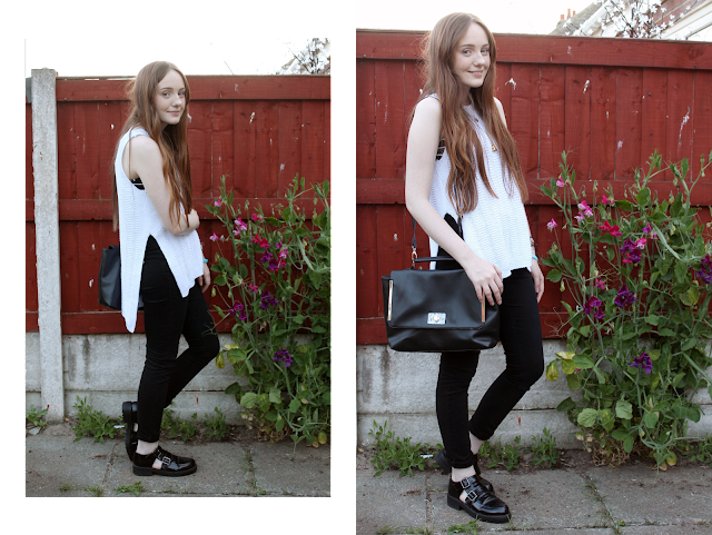 new look white rib knitted step hem tank top, black river island lana jeans, asos smart messenger bag, primary monk shoes, long hair,