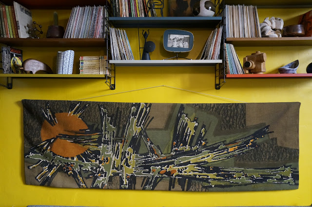 tapisserie de laine samourai robert four  rene fumeron 1950s 1960s 50s 60s annees 50 60 mid century abstract  tapestry