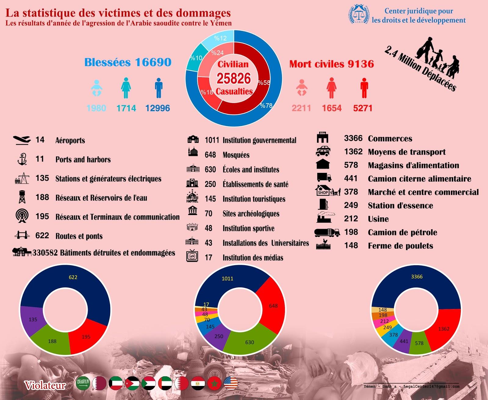إحصائية عام من العدوان السعودي باللغة الفرنسية