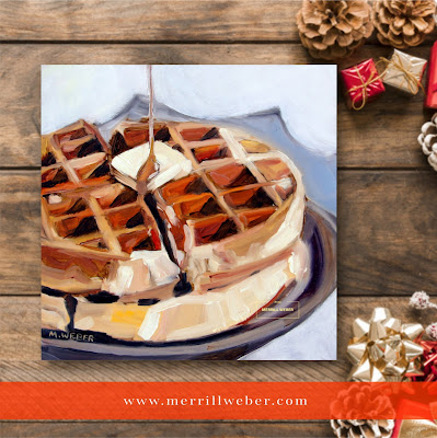 Waffles oil painting food painting by Merrill Weber