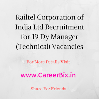 Railtel Corporation of India Ltd Recruitment for 19 Dy Manager (Technical) Vacancies