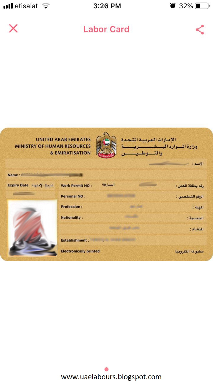 Check UAE Labor Card sample online