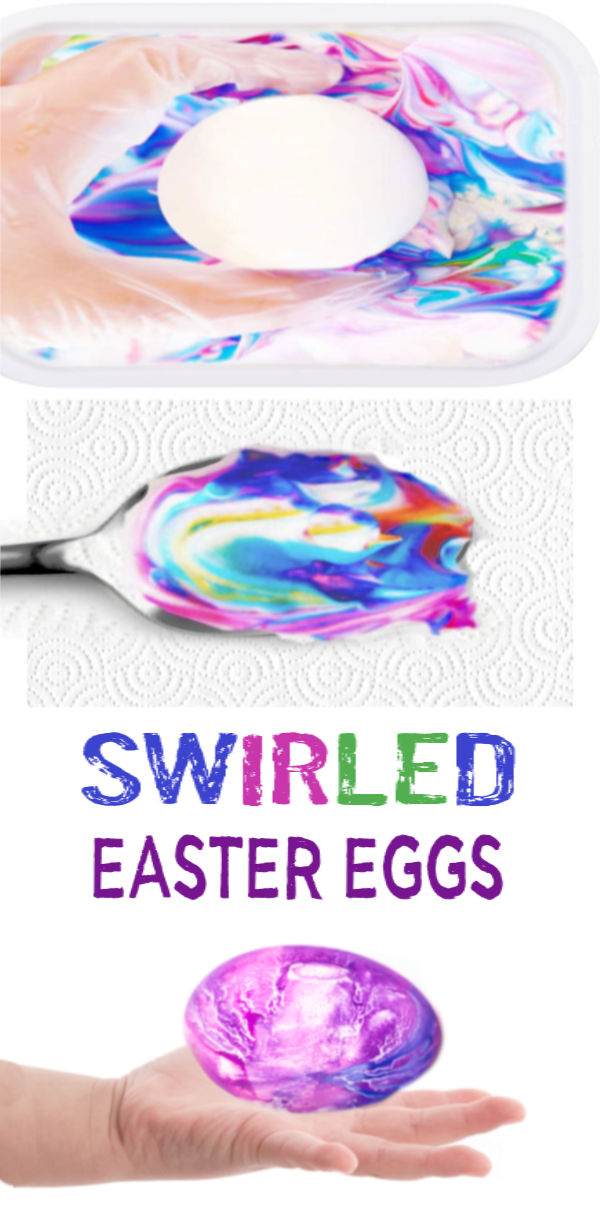 Decorate & dye Easter eggs using shaving cream!  The swirled effects created will wow kids of all ages, making this the perfect Easter craft. #swirledeggs #shavingcreameggs #shavingcreameggdying #shavingcreameastereggcoloring #marbleizedeastereggs #marbleizedeggs #eastereggdyeideas #eastereggdecoratingforkids #easteractivitieskids #growingajeweledrose