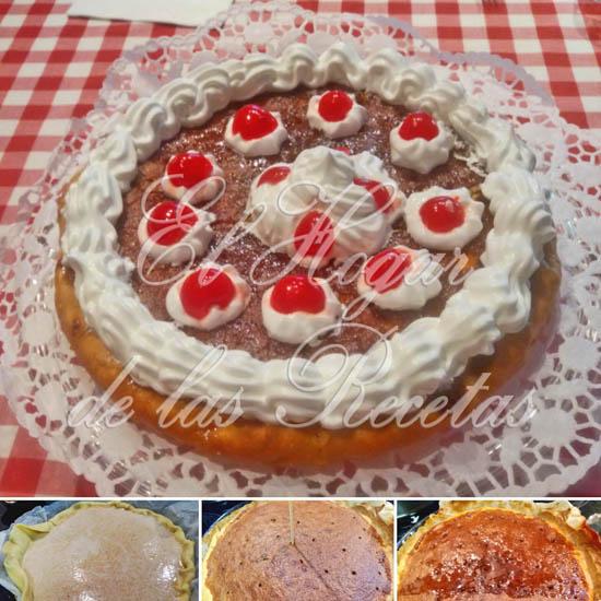 Tarta de almendras con merengue y cerezas en almíbar