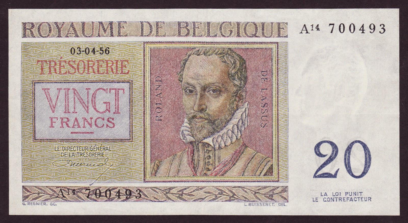 Belgium Banknotes 20 Francs Treasury Note 1956 Roland De Lassus