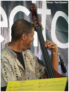Chuck Webb - bass as a member of The Edwin Daugherty Sextet plays the Von Freeman Pavilion at the Chicago Jazz Festival - Photo by Tom Bowser