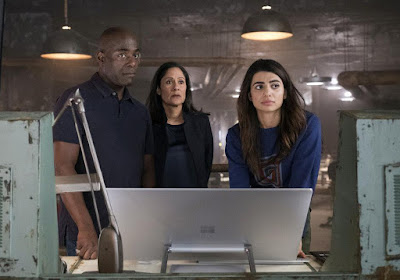 Paterson Joseph, Sakina Japery and Claudia Doumit in Timeless Season 2