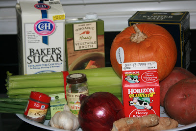 The ingredients to make Pumpkin Soup in the Crockpot Slow Cooker. Creamy and delicious with Jamaican seasoning.