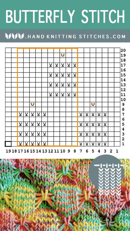 Hand Knitting Stitches - Butterfly #SlipStitchPattern Chart
