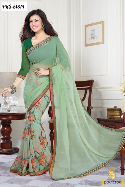Bollywood heroine actress Ayesha Takia  green wedding wear georgette saree 2016 online shopping Surat India