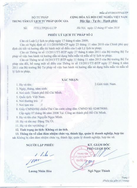 Criminal record certificate services for foreigner living in Vietnam
