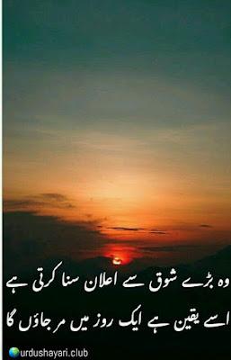 Woh Bare Shoq Say Elaan Suna Kerti Thi..  Isay Yaqeen Hai K Aik Roz Mein Mar Jaonga..!!  #sadshayari #urdupoetry