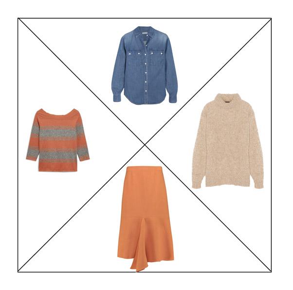 Оранжевая юбка и топ, джинсовая рубашка и свитер оверсайз для капсульного гардероба в повседневном стиле Casual