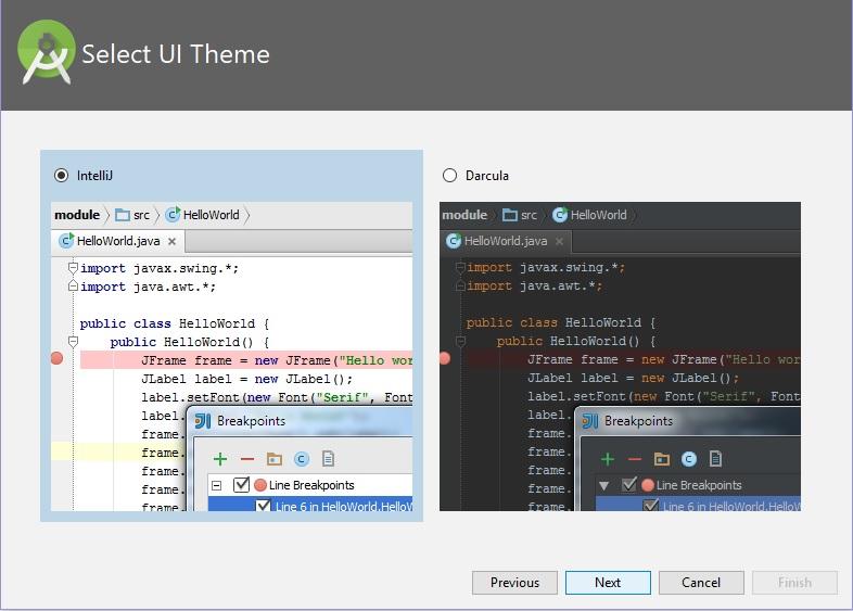 Select UI Theme Android Studio