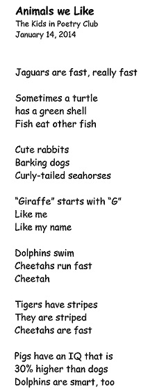 Image of a poem title Animals we Like