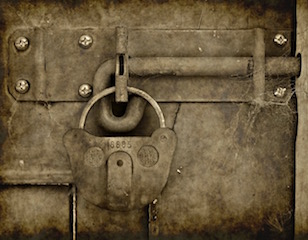 Old Door with a Padlock
