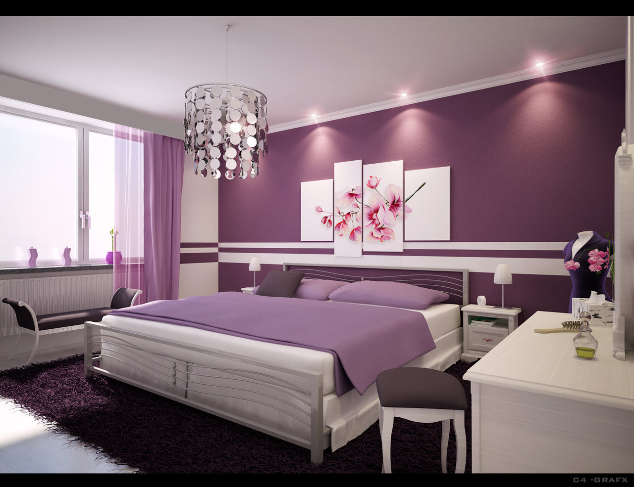 Home Interior Designs: Simple Ideas For Purple Room Design