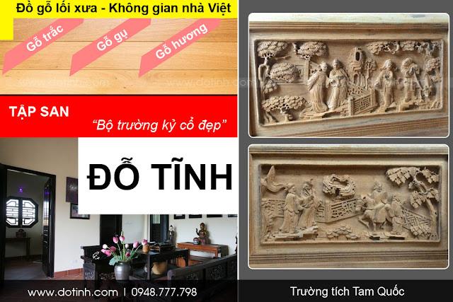Trường tích Tam Quốc - Bộ trường kỷ cổ đẹp Việt Nam