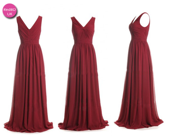 Chiffon V-neck Gathered Bodice Pleated Skirt Long Bridesmaid Dress