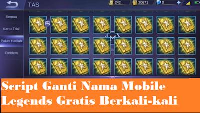 Cara Ganti Nama Mobile Legends Gratis Dengan Script Tanpa Diamond