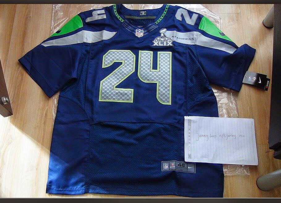 7fc3b53e45f Elite Men s Navy Blue Marshawn Lynch Home Jersey - Nike  24 Seattle ...