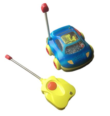 Blue and yellow toy one-button adapted remote control car.